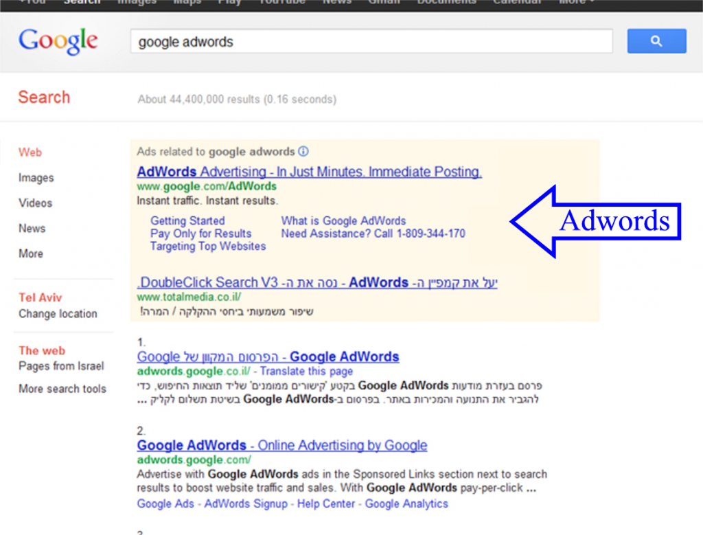 גוגל אדוורדס Google Adwords
